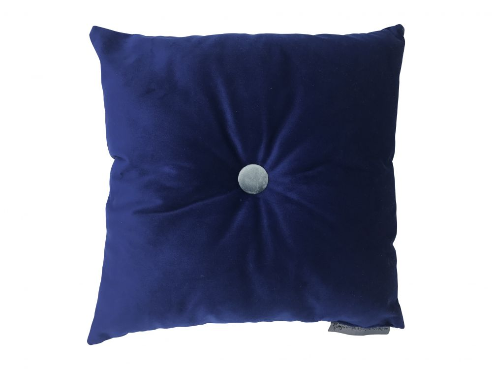square egyptian blue velvet cushion