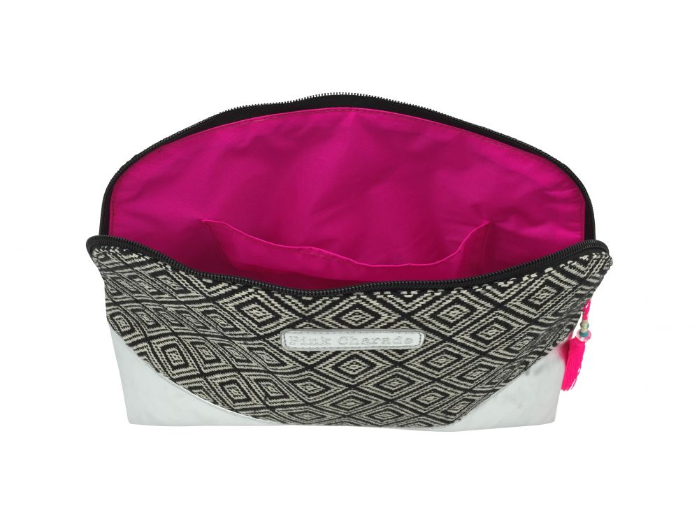 Black tribal/silver curved cosmetic bag