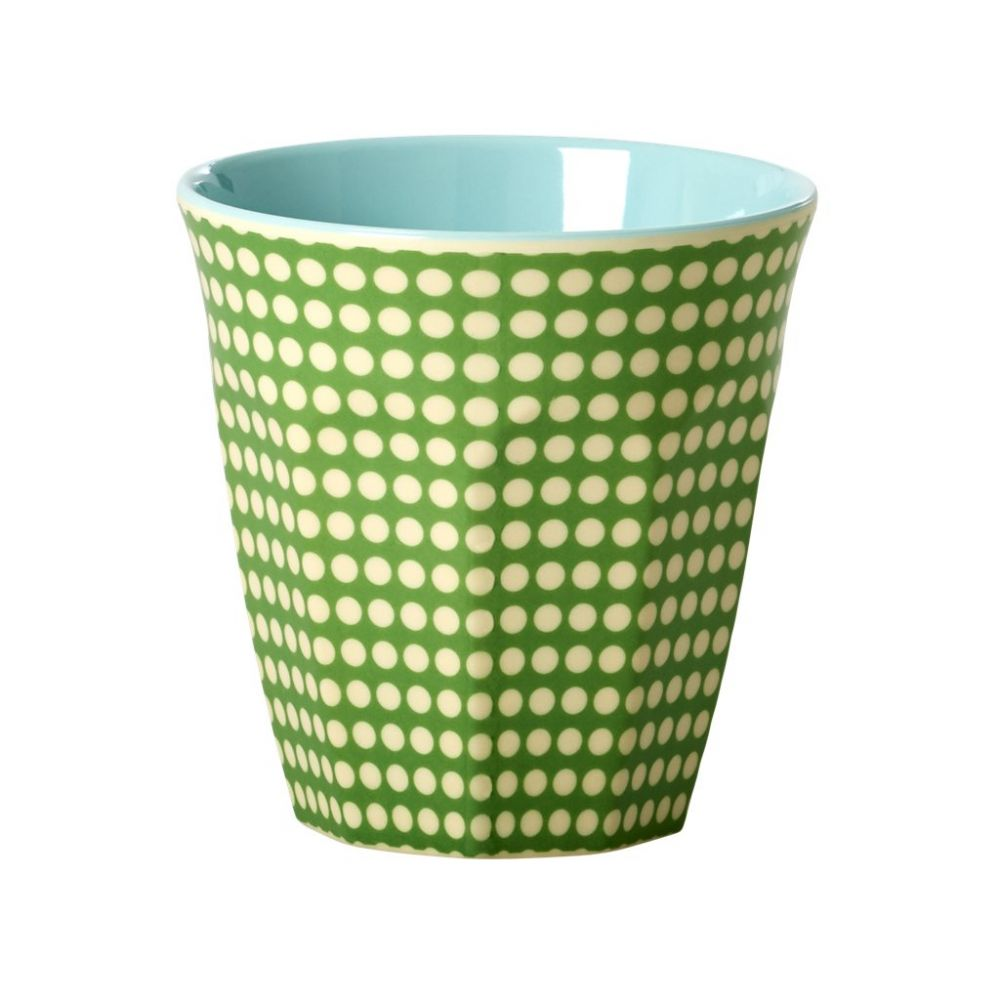 Melamine Medium Cup Two Tone with Dot Print