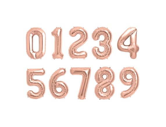 rose gold number helium balloons