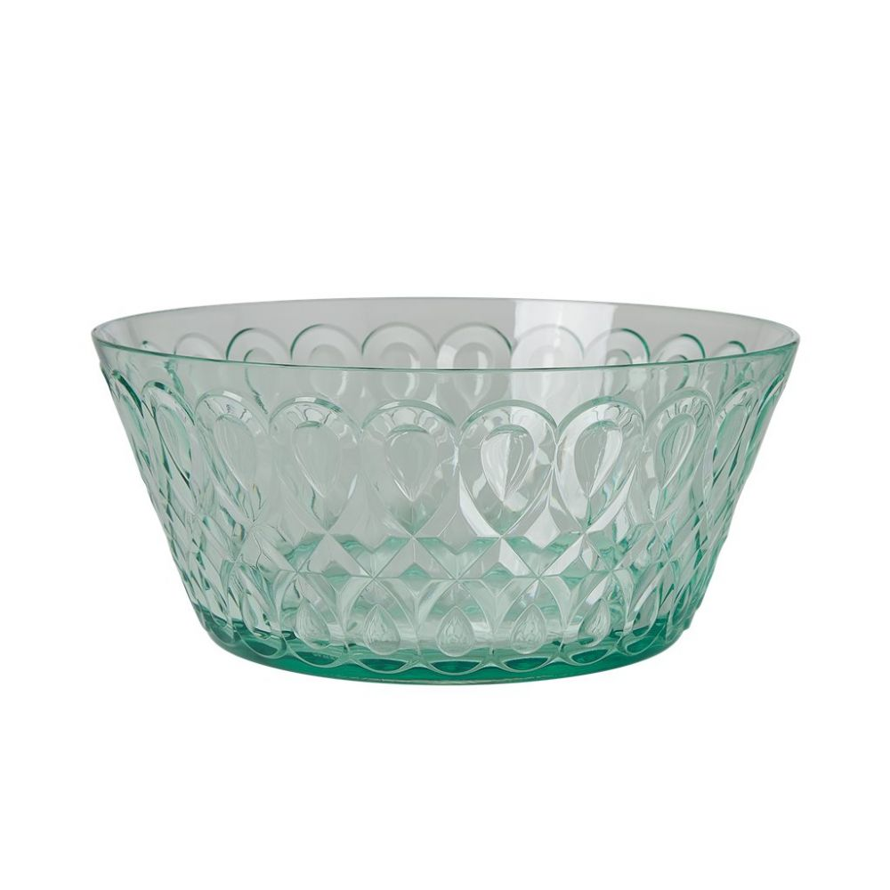 Acrylic Bowl with Swirly Embossed Detail - Pastel Green - Large