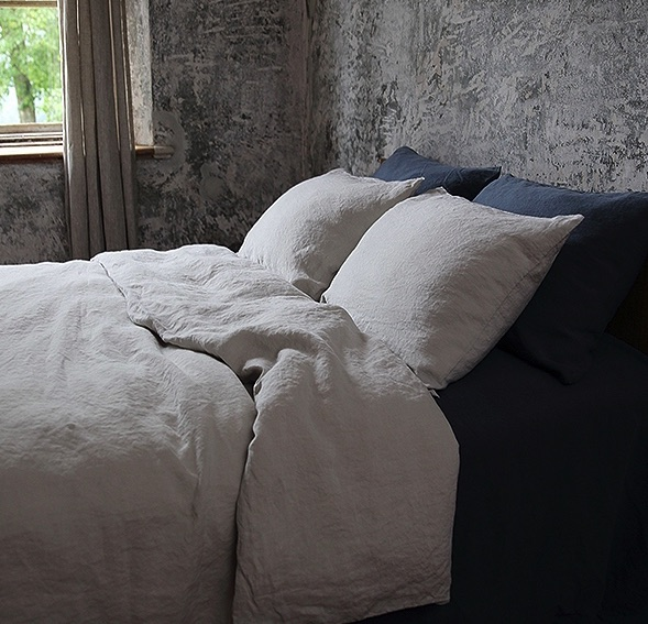 stone washed duvet cover- silver