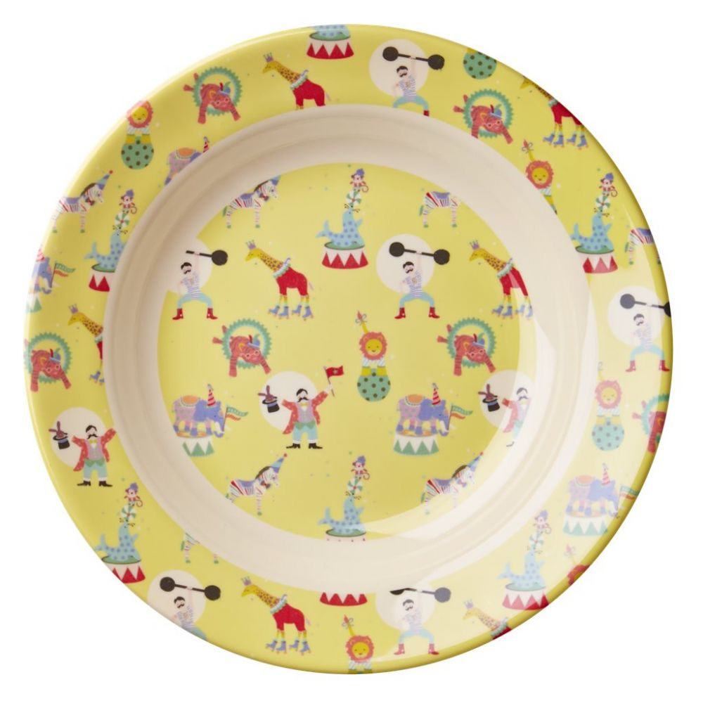 Kids Melamine Bowl with Boy Circus Print - Yellow