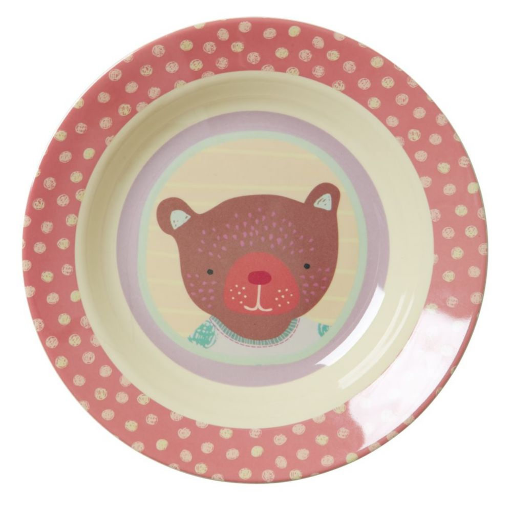 Kids Melamine Bowl with Girls Happy Camper Print
