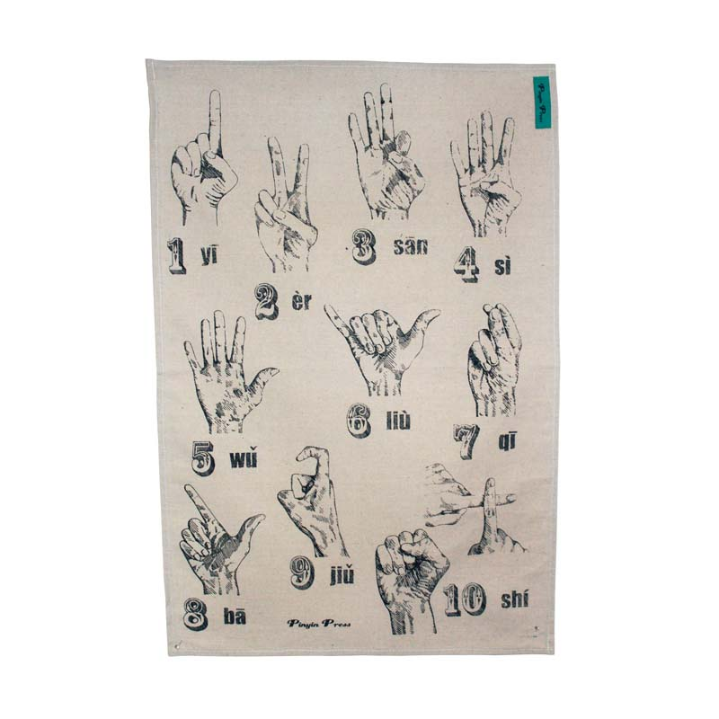 Finger Counting Tea towel Blue