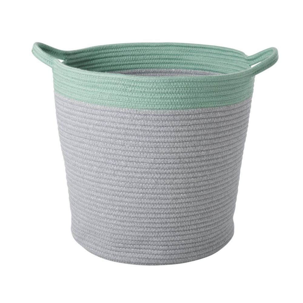 Large Round Rope Storage Baskets in Grey and Green