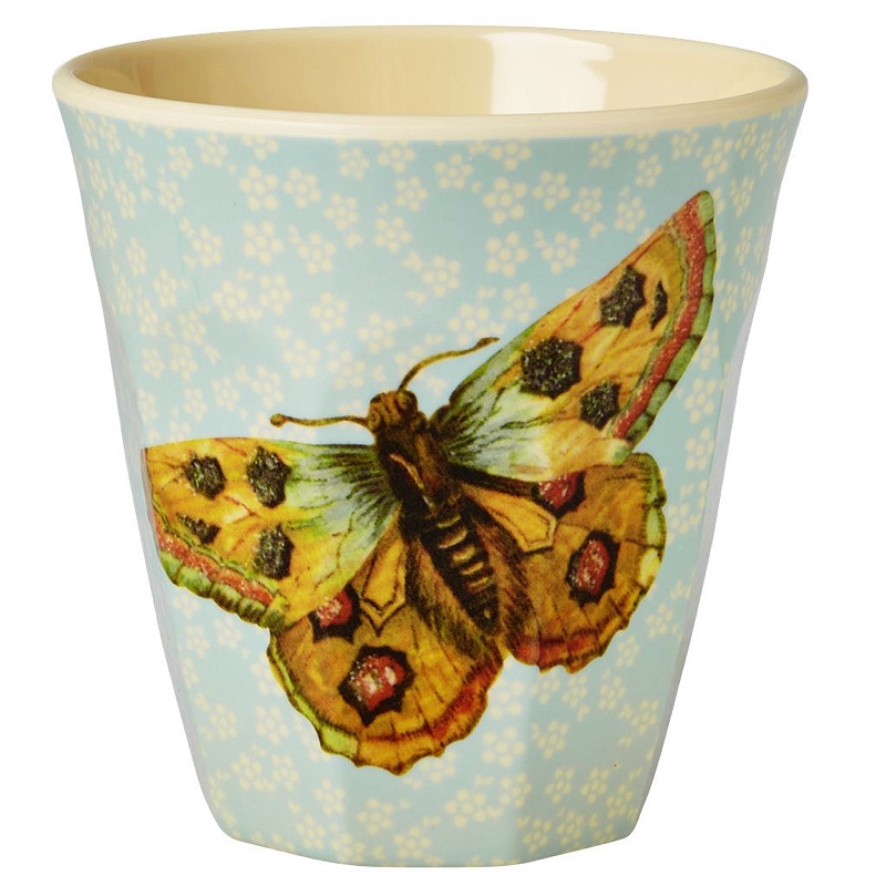Medium Melamine Cup Two Tone with Soft Blue Flower and Butterfly Print