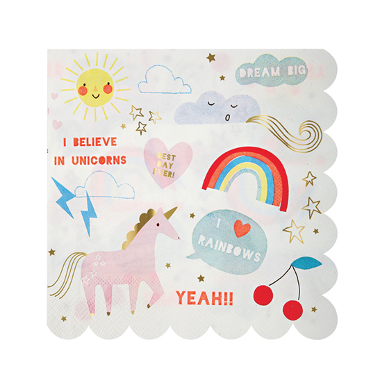 meri meri - Unicorn & rainbow large napkin