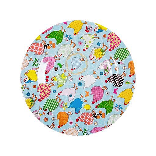 Melamine Side Plate Two Tone with Hen Print