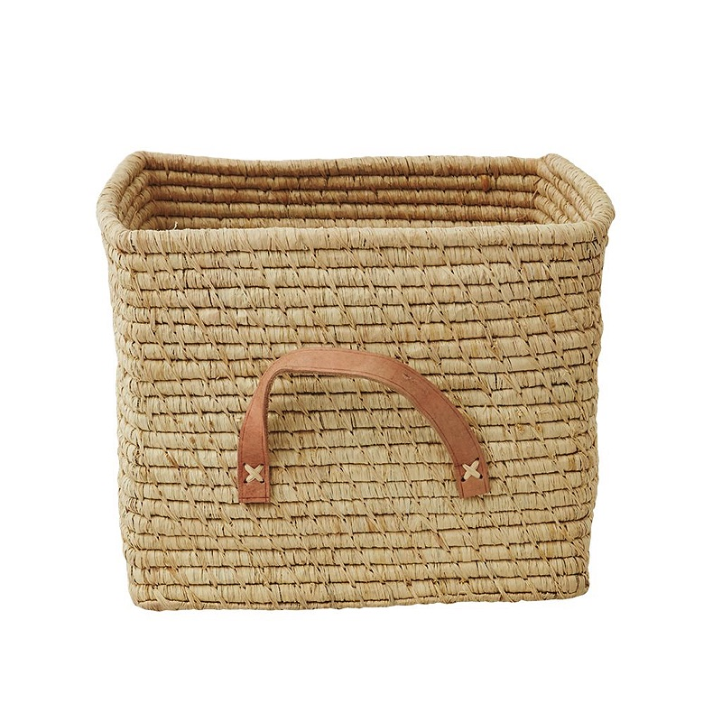 Small Square Raffia Basket with Leather Handles