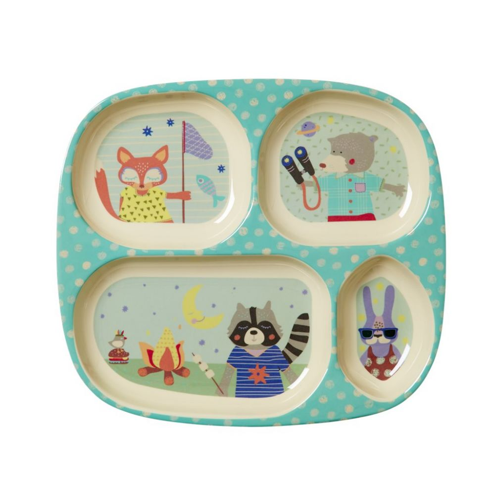 Kids 4 Room Melamine Plate with Boys Happy Camper Print