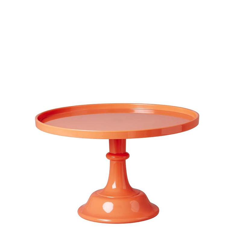 Small Neon Coral Melamine Cake Stand with Stem