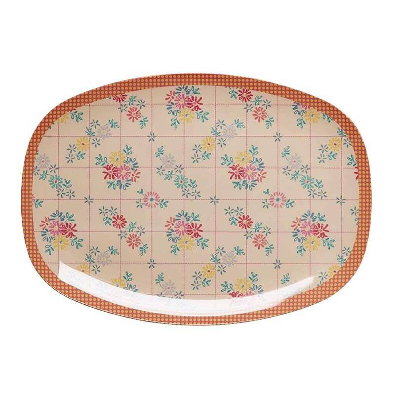 Rectangular Melamine Plate with Embroidered Flower Print