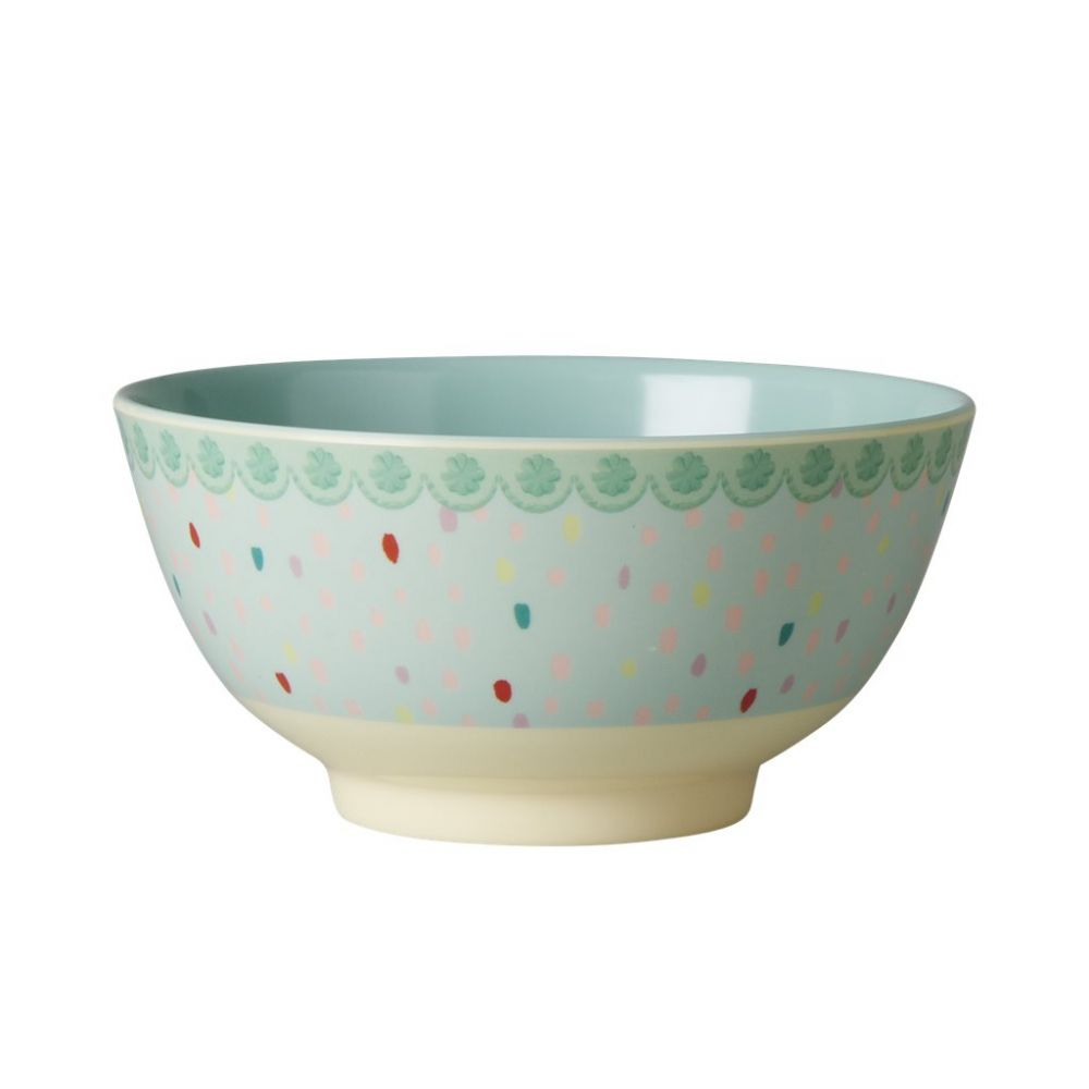 Melamine Bowl Two Tone with Raindot Print