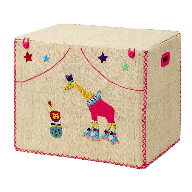 Large Foldable Toy Basket in Circus Design with Giraffe and Lion