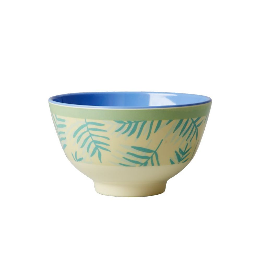 Small Melamine Bowl Two Tone with Palm Leave Print