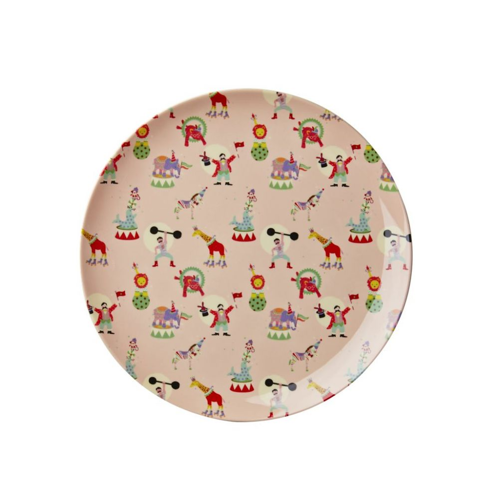 Kids Melamine Lunch Plate with Girl Circus Print - Soft Pink