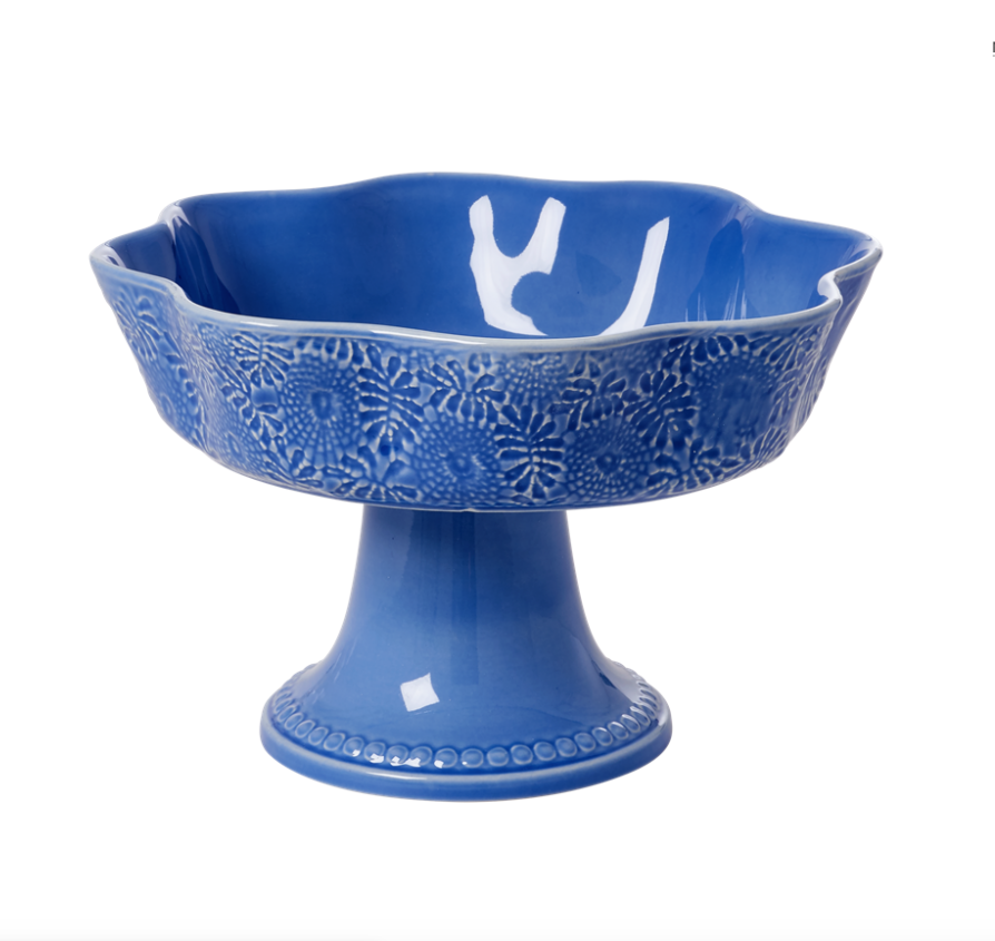 Fruit Bowl Embossed Stoneware in Blue