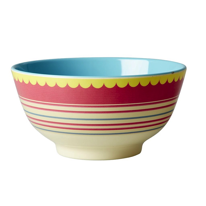 Melamine Bowl Two Tone with Striped Print