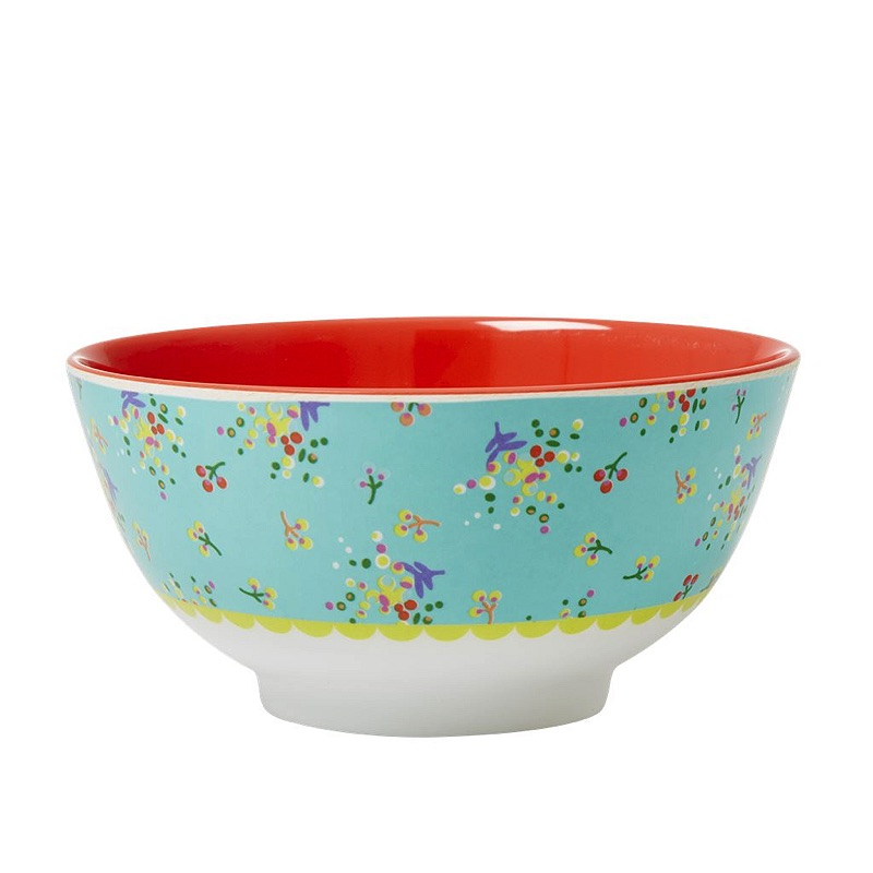 Melamine Bowl Two Tone with Aqua Mint Flower Print