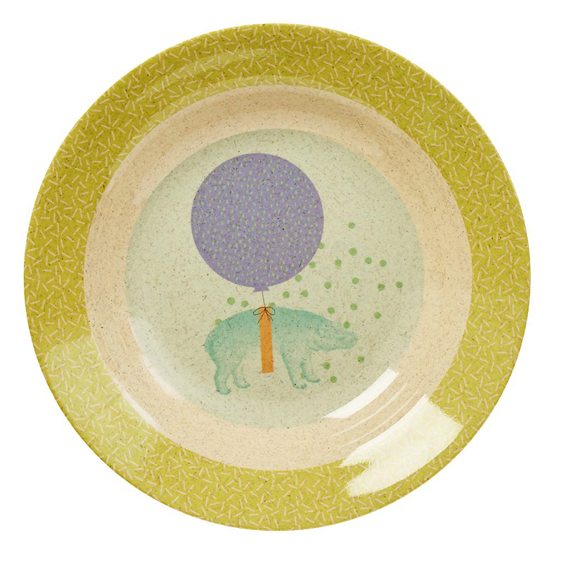 Kids Bamboo Melamine Bowl with Boys Animal Print