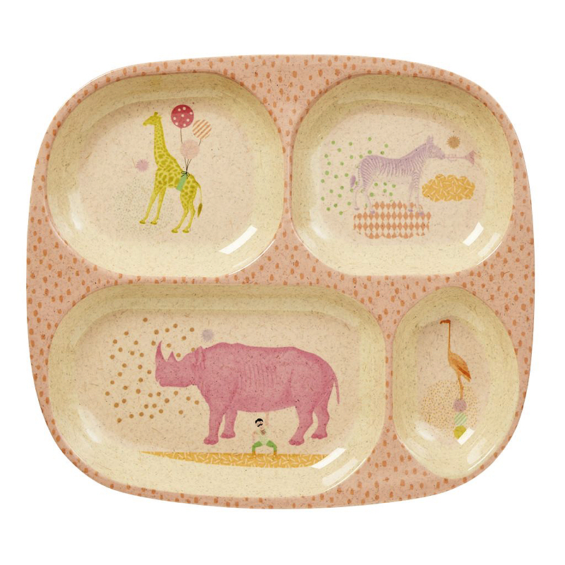 Kids 4 Room Bamboo Melamine Plate with Girls Animal Print