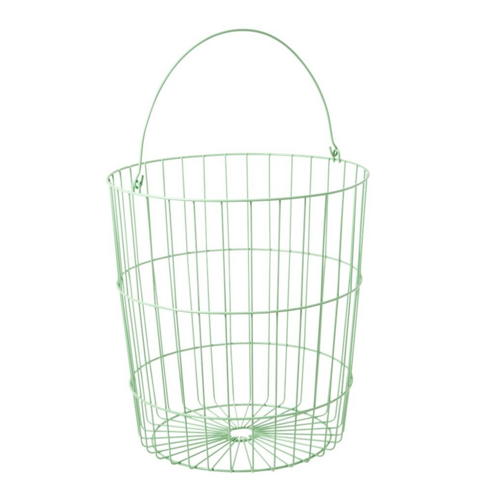 Round Wire Basket with Handle Jade