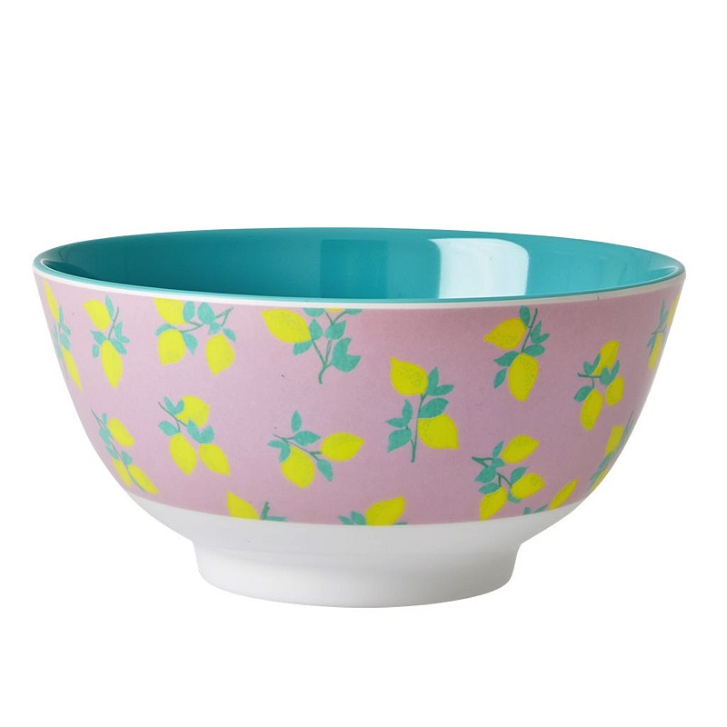 Melamine Bowl Two Tone with Lemon Print