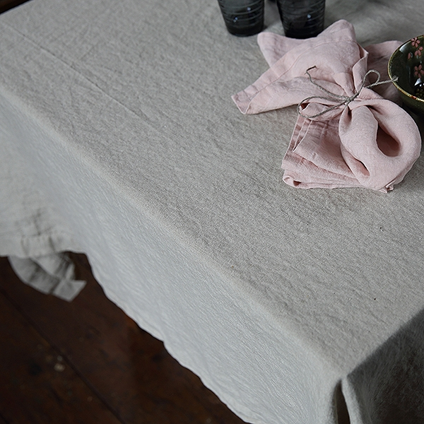 Table cloth stone washed Oathmeal
