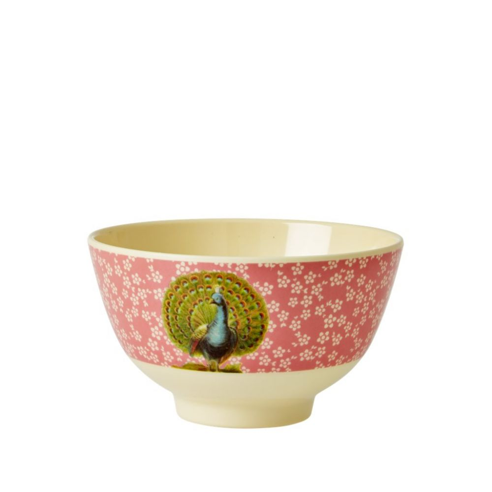 Small Melamine Bowl Two Tone with Coral Flower and Peacock Print