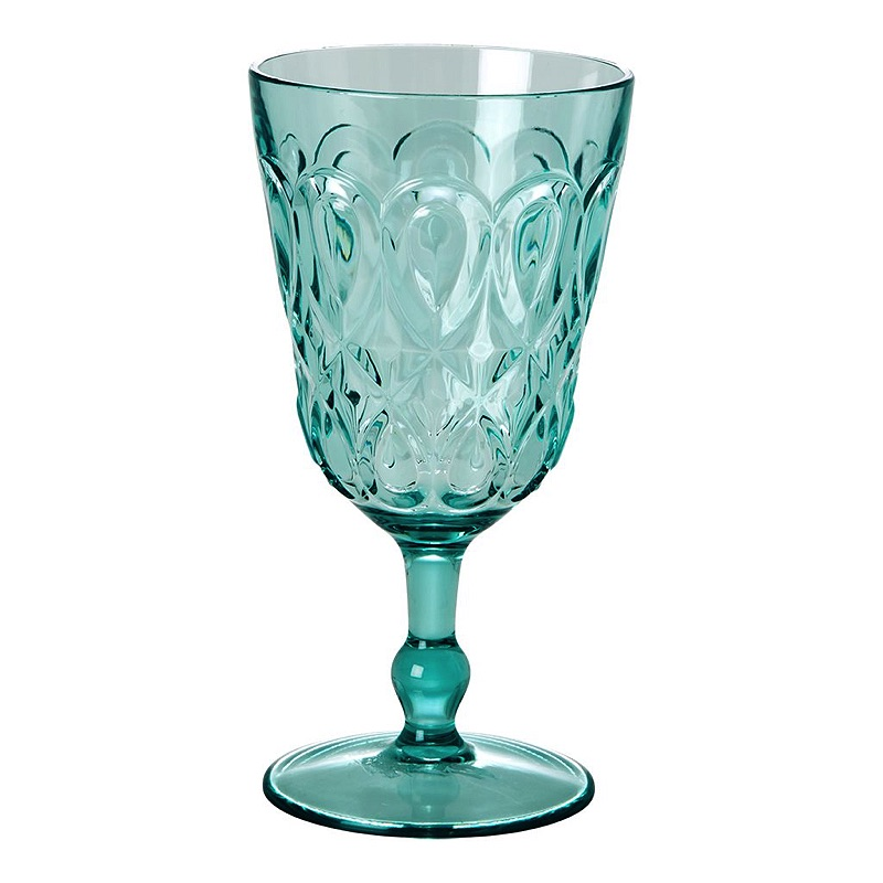 Swirly Embossed Wine Glass Acrylic (mint)