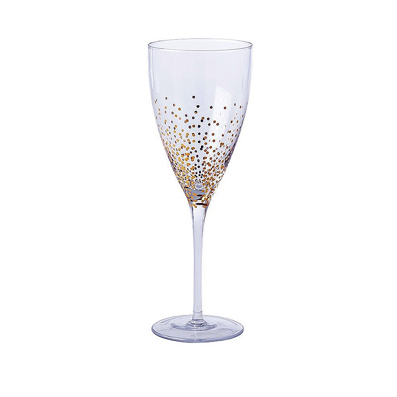 Wine Glass with Gold Dots
