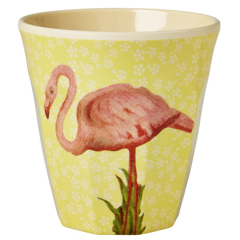 Melamine Cup Two Tone with Yellow Flower and Flamingo Print