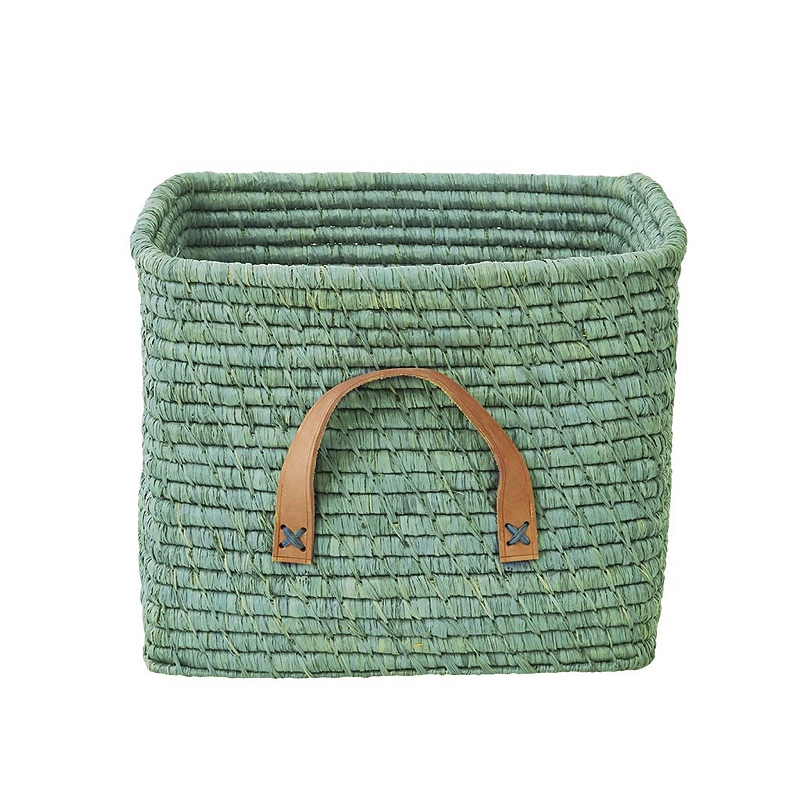 Small Square Raffia Basket in Mint with Leather Handles