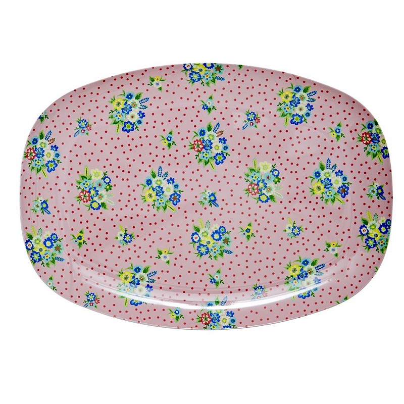 Rectangular Melamine Plate with vintage Flower Print