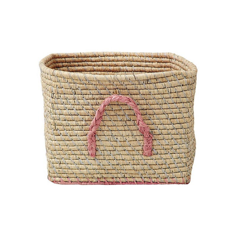 Small Square Raffia Basket Natural with Silver Thread and Pink Edges