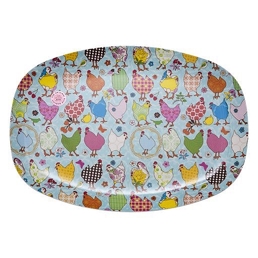 Rectangular Melamine Plate with Hen Print