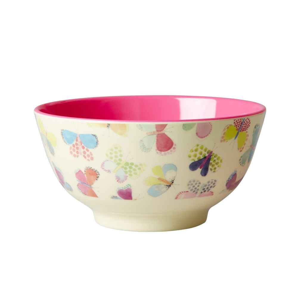 Melamine Bowl Two Tone with Butterfly Print