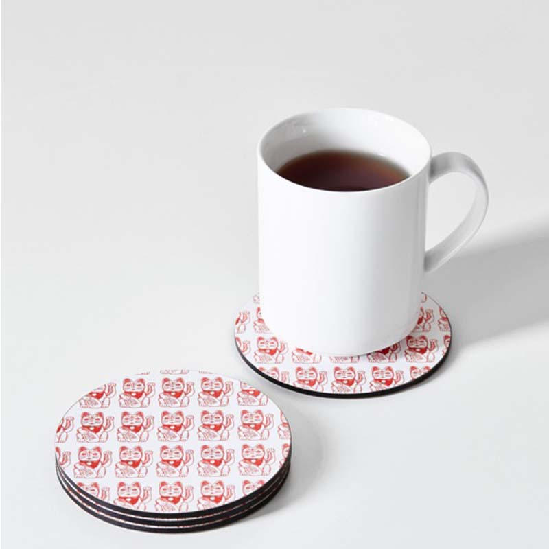 Lucky Cat coaster red