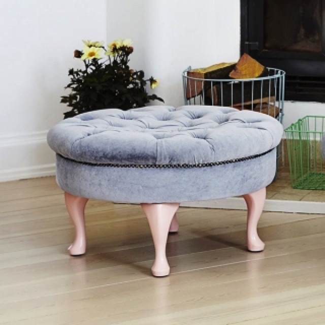 Round Pouf in Grey Velvet