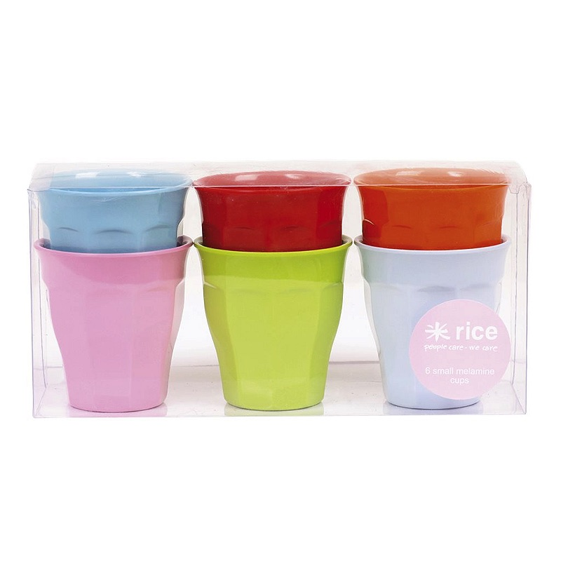 6 Small Melamine Curved Cups in 6 Assorted Bright Colors