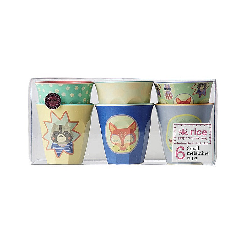 Box with 6 Small Melamine Cups with Boys Happy Camper Prints