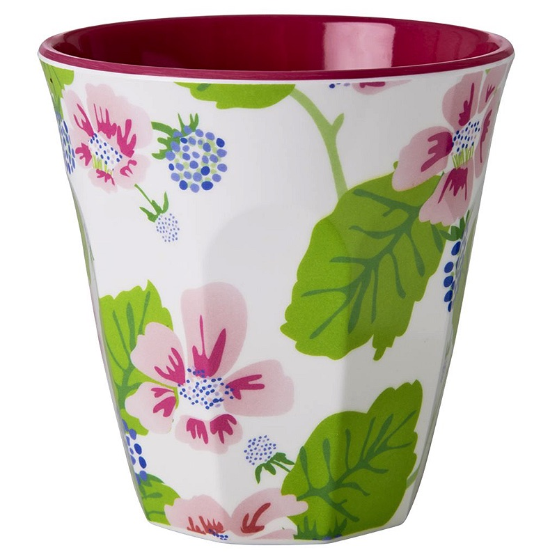 Medium Melamine Cup Two Tone Blossom & Berries Print