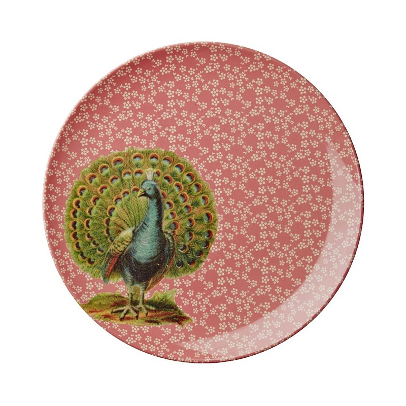 Melamine Side Plate with Coral Flower and Peacock Print
