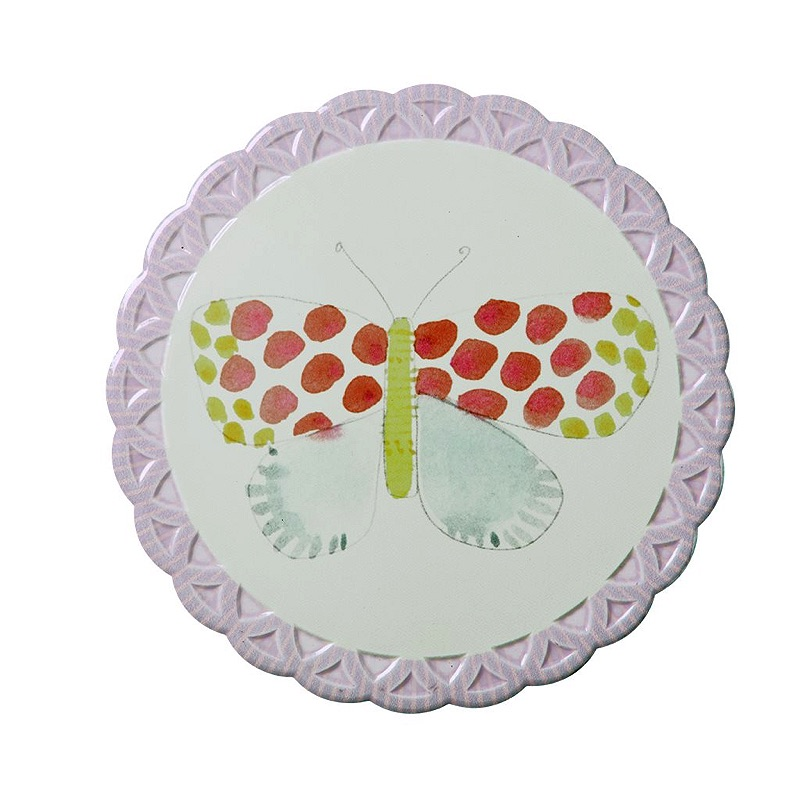 Trivet with Ceramic Top and Cork Bottom with Butterfly Designs