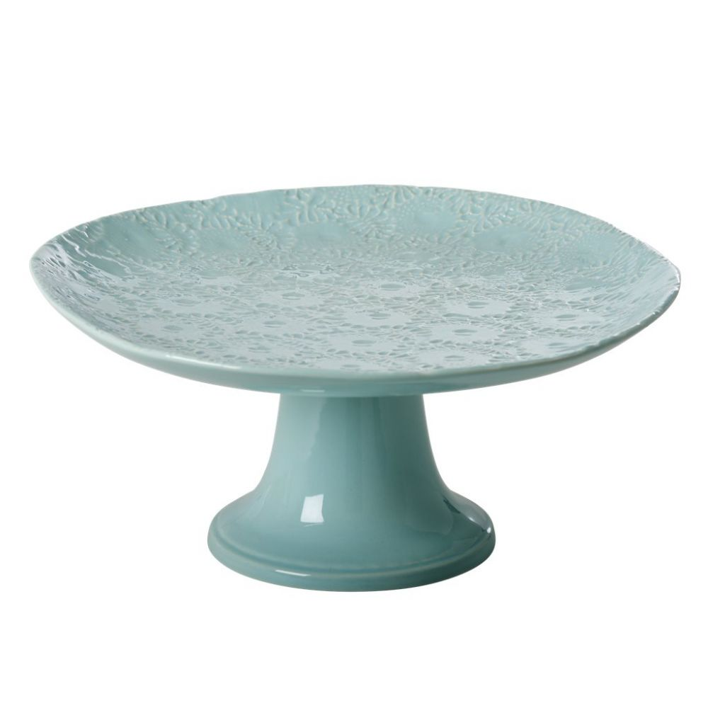 Embossed Stoneware Cake Stand in Mint
