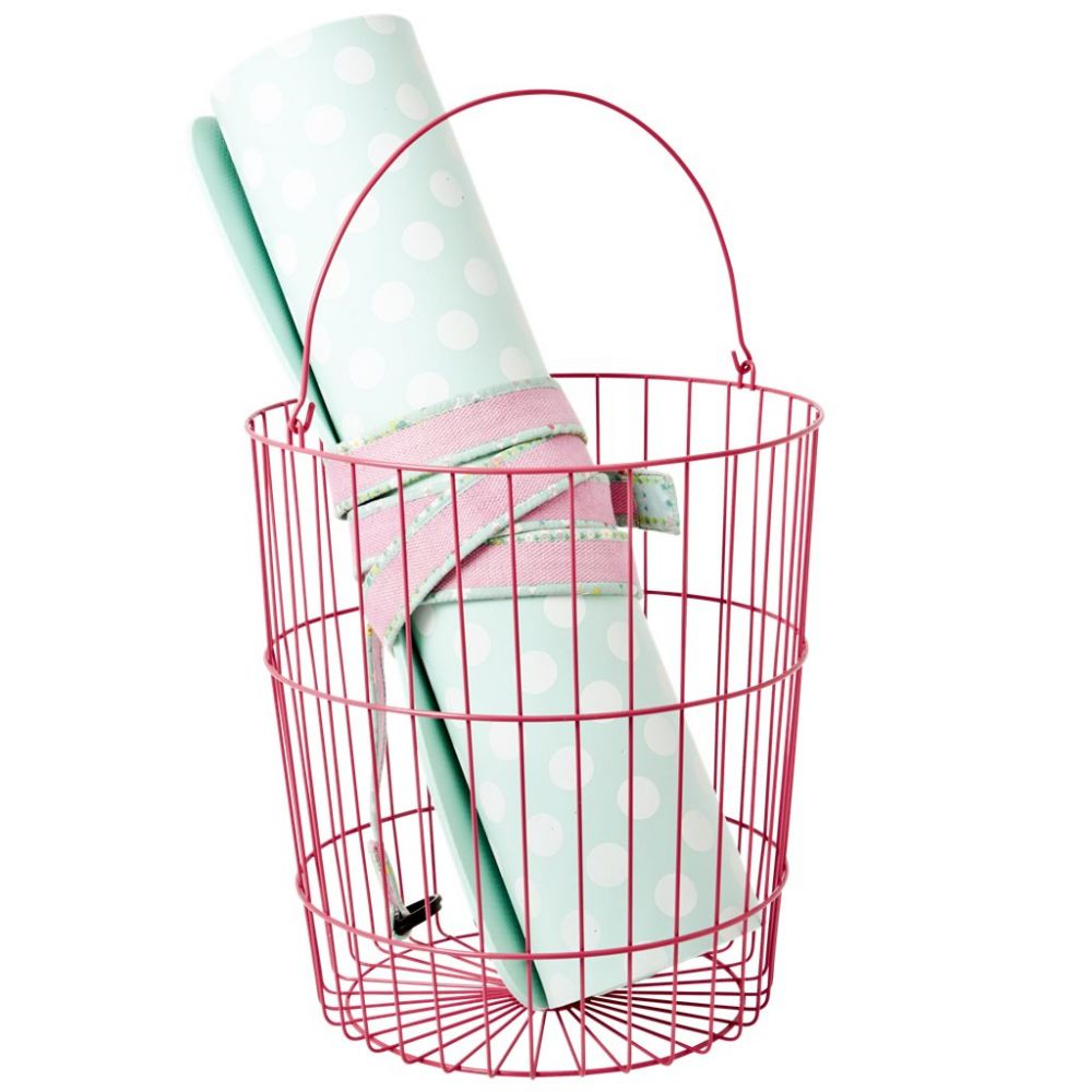 Round Wire Basket with Handle Fuchsia