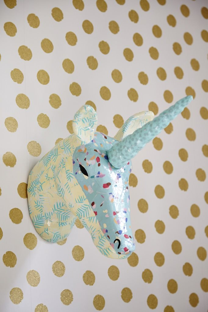 Wall Hanging Paper Mache Unicorn Head