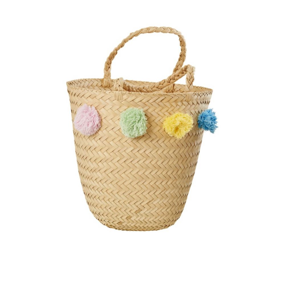 Raffia Beach Bag with Pompoms in Assorted Colors