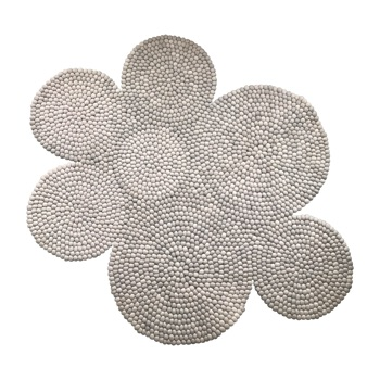 Cloud shape felt ball rug grey